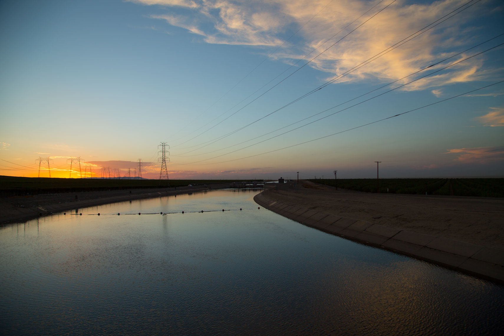 Sunset at the California Aqueduct.